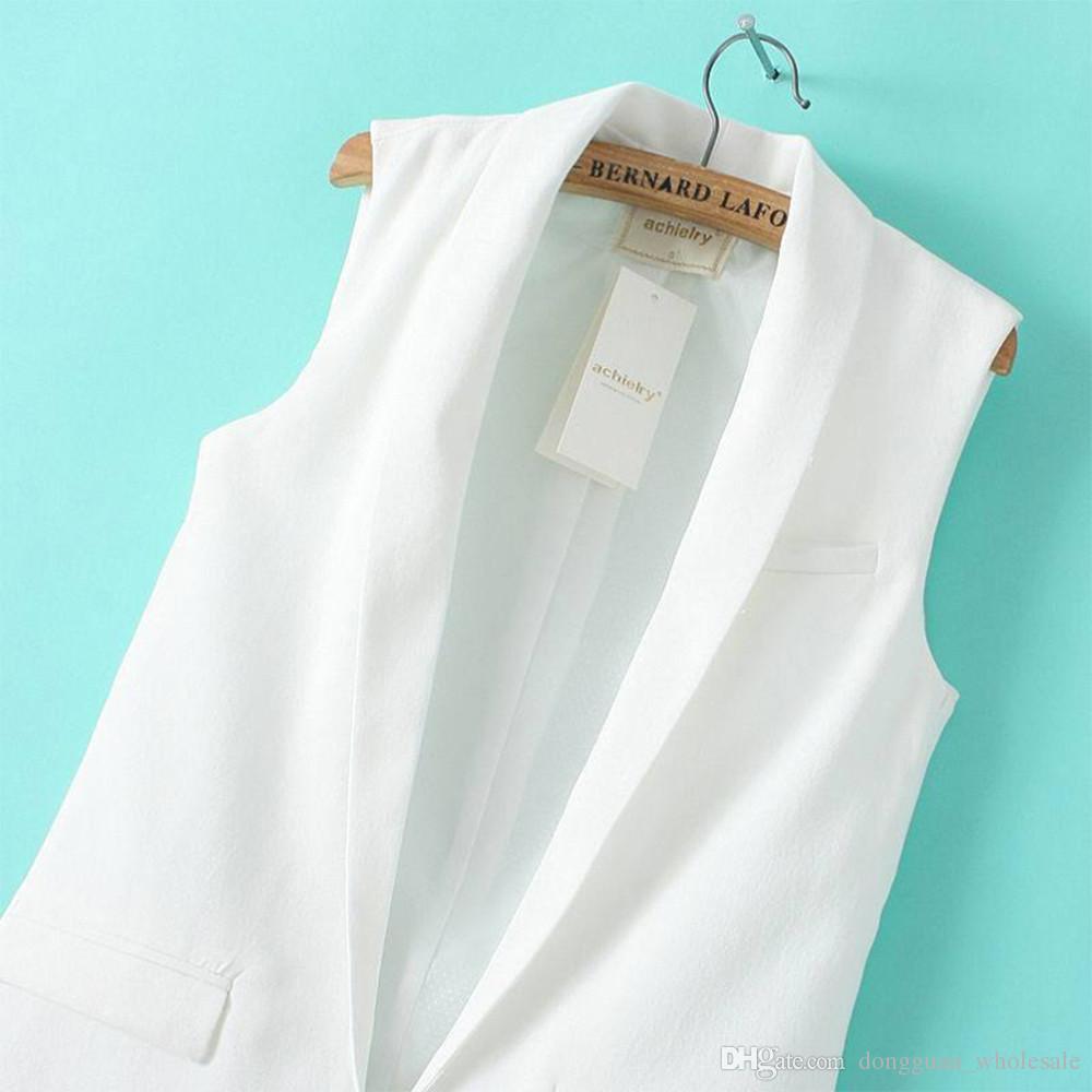 2016 Primavera Verano Blanco Negro Mujeres Chaleco de Traje Formal Feminino Damas Chaquetas Sin Mangas de Botón Individual Chaleco de Patchwork Largo