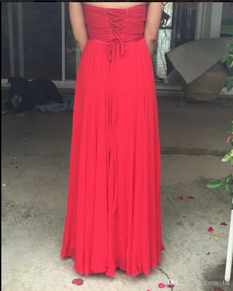 Modest 2017 Red Chiffon A-line Country Bridesmaid Dresses Long Cheap Sweetheart Ruched Floor Length Maid Of Honor Gowns Custom Made EN110211