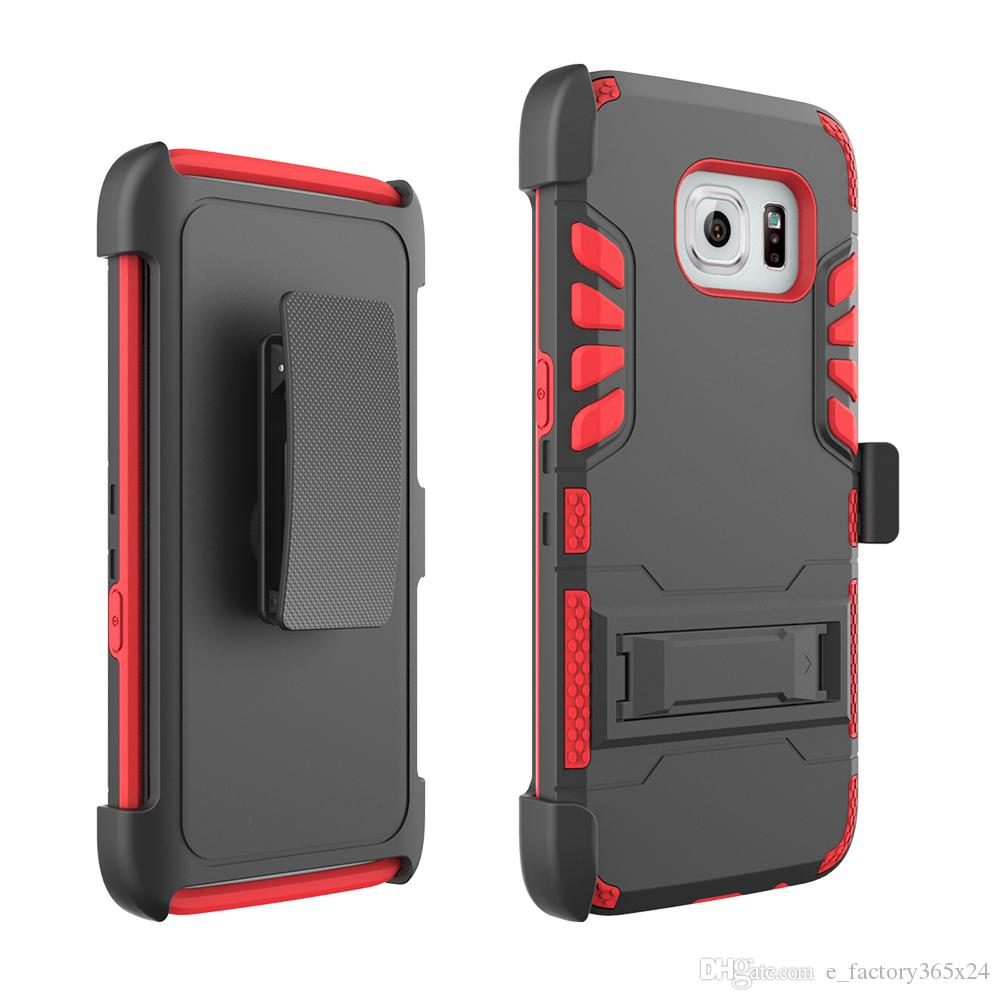 ... Rugged Cell Phone Cases PC TPU Hybrid Shockproof Armor Heavy Duty Phone  Covers With Clip Kickstand ...