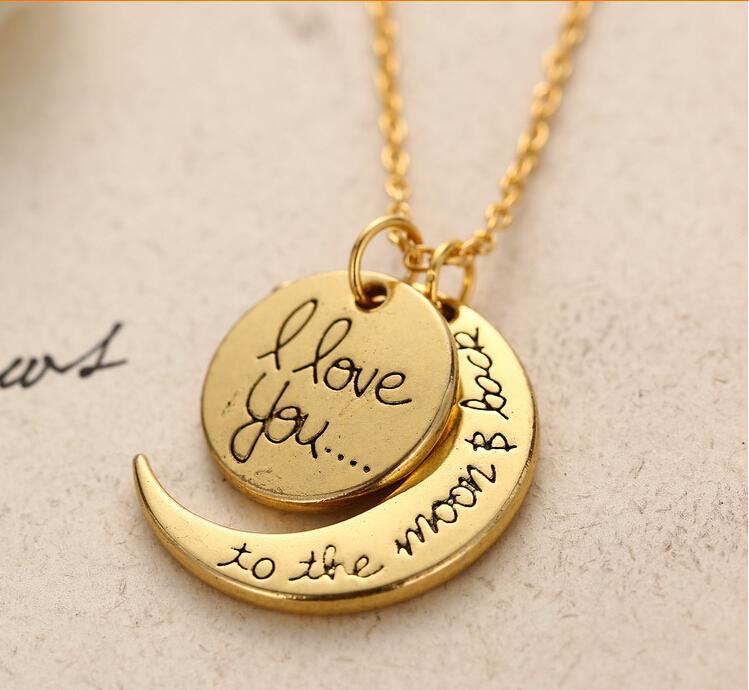 """New Arrival """"Ich liebe dich zum Mond und zurück"""" Halskette Schmuck Frau Mode-Kette Opulente Halskette Weinlese-Silber-Goldschmucksachen GM"""
