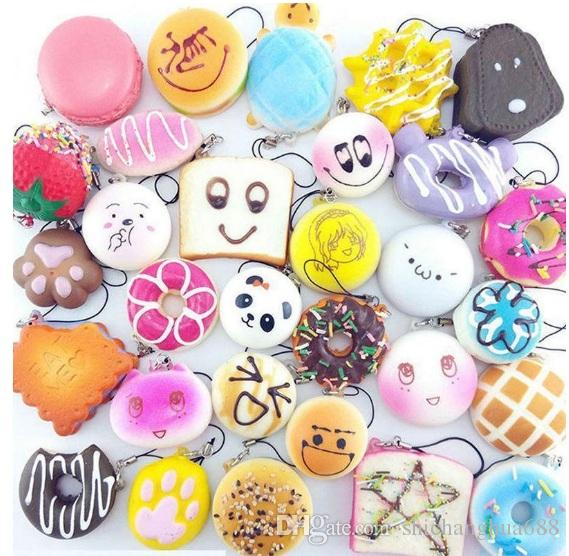 2017 30pcs/lot squishies toy Slow Rising Squishy Rainbow sweetmeats ice cream cake bread Strawberry Bread Charm Phone Straps Soft Fruit Toys