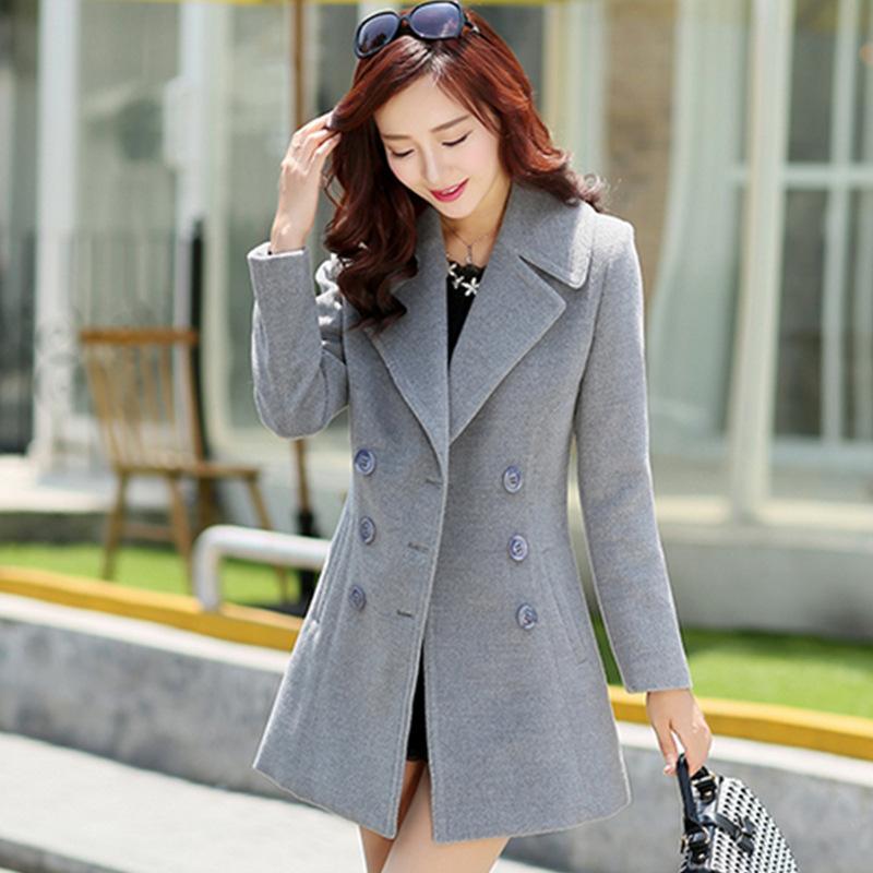 2018 2015 Autumn And Winter Fashion New Korean Women Slim Woolen Coat Girls Long Paragraph