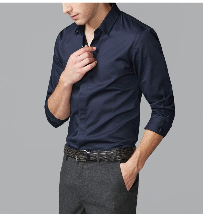 Men's Fashion Dark Blue Long-sleeved Shirt Men's Formal Wear Shirt ...