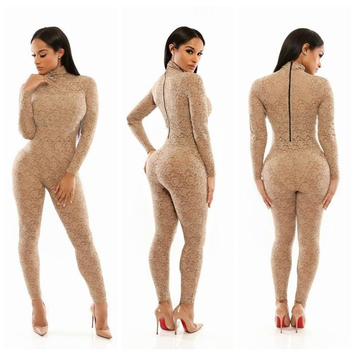 c288af876f8 Sexy Lace Bodycon Jumpsuit High Collar Long Sleeve Rear Zipper Nightclub Party  Rompers Fashion Women 2015