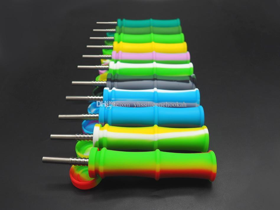 5X Bambu silikon Nektar nector Toplayıcı kiti Konsantre duman Borusu ile Titanyum Ucu Dab Saman Yağı Kuleleri