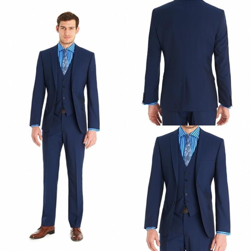 Cheap Slim Fit Back Vent Two Buttons Navy Blue Groom Tuxedos Notch ...