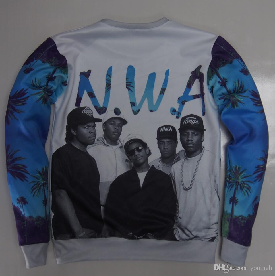 Unisexe 3D N.W.A gros-nouveaux Straight Outta Compton sweatshirts NWA Niggaz avec Attitudes Gangsta Rap sueurs pour femmes et hommes