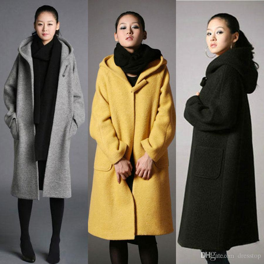 High Quality Womens Long Wool Blend Coat Hooded Loose Thick Jacket ...