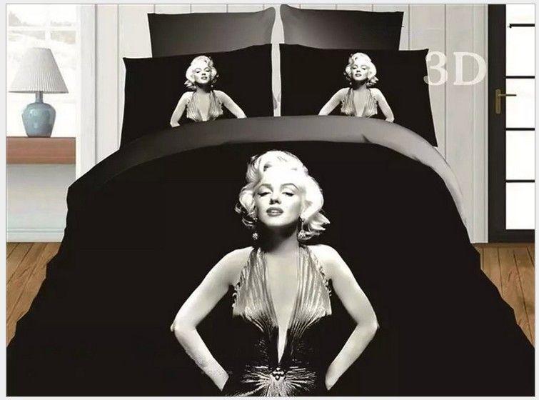 Acheter 3D Marylin Marilyn Monroe Ensemble De Literie Noir Et