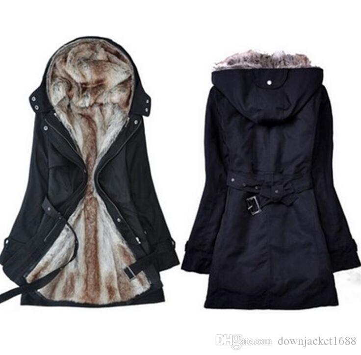 Heißer Verkauf! Webpelz Futter Frauen Pelzmäntel Winter warme lange Mantel Jacke Kleidung Frauen Oberbekleidung