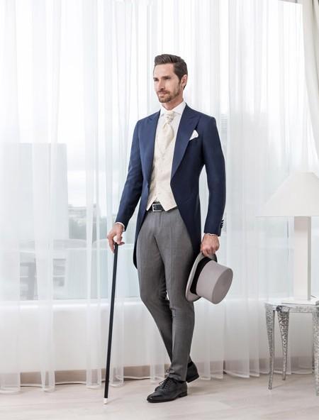 Classic Blue Men Tailcoats Wedding Suits For Men Peaked Lapel ...
