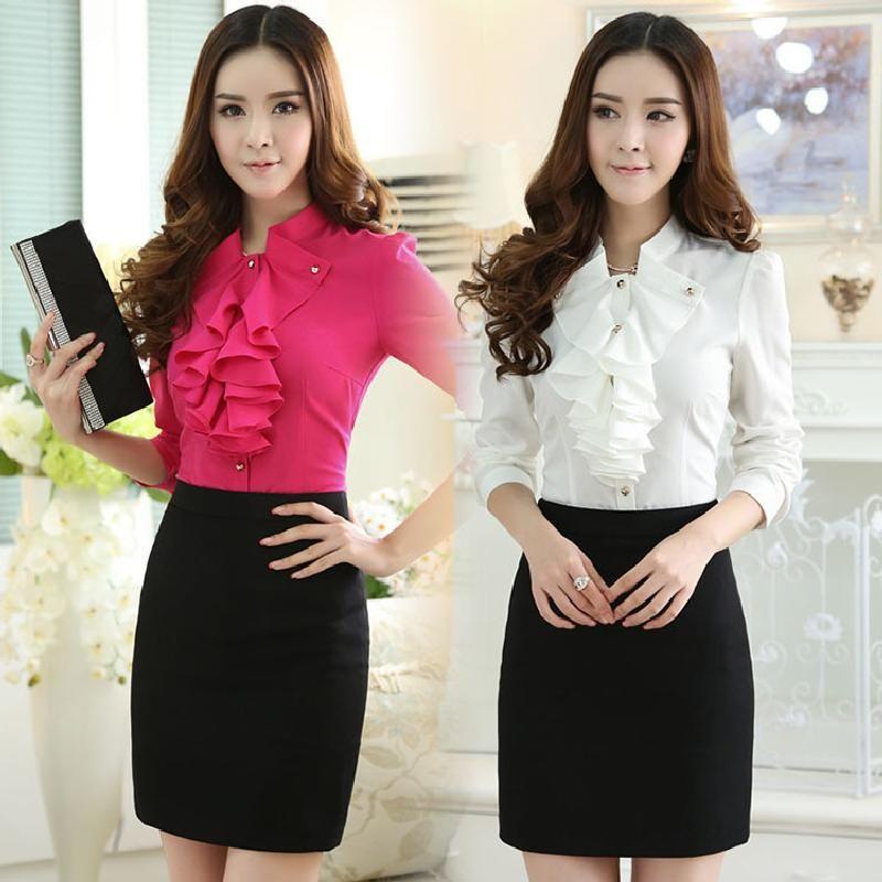 2017 2016 New Korean Ol Elegant Women Ruffled Collar Work Shirt ...