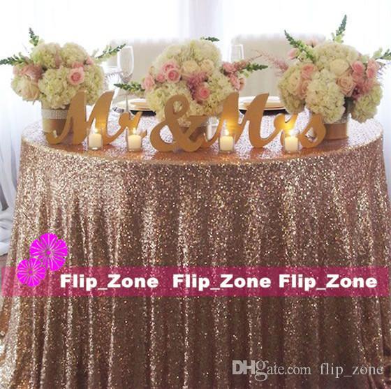 Bling Rose Gold Sequins Table Cloth For Garden Wedding