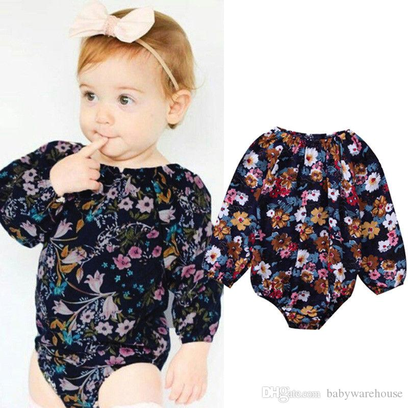 8988dd21b690 2019 2018 Baby Girl Rompers Cute Newborn Baby Kids Girls Long Sleeve Floral  Romper Girls Jumpsuit Kids Clothing One Piece Outfits Baby Onesies From ...