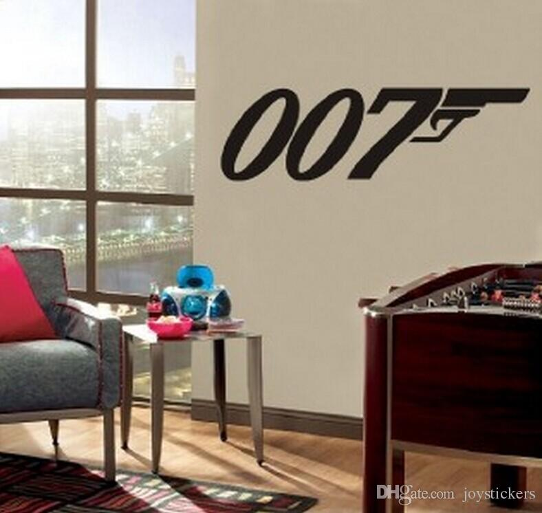 JAMES BOND 007 silhouette Decal Removable Logo WALL STICKER Home Decor Art Agent Wall Vinyl Decal Wall Sticker Size 100 cm long