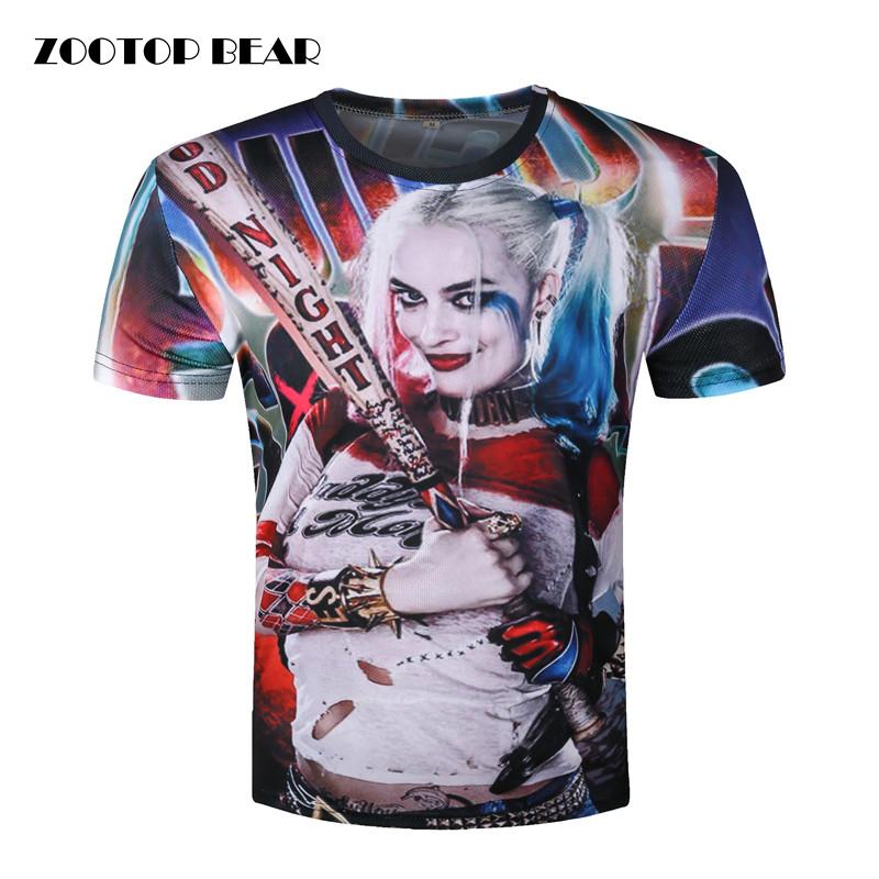 x201711 mens harley quinn joker t shirts 3d deadshot t. Black Bedroom Furniture Sets. Home Design Ideas