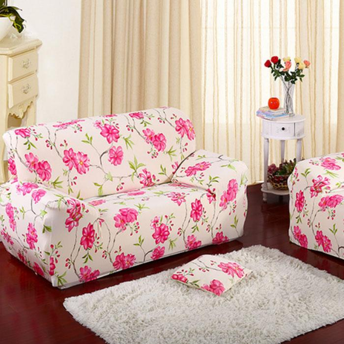 Flower Printing Textured Couch Spendex Stretch Sofa Cover Big ...