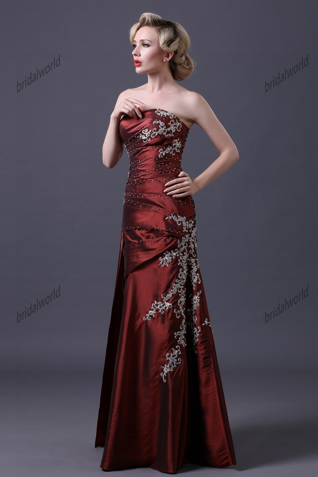 Burgundy Mother of the Bride Dresses Embroidery Beaded Evening Gowns Taffeta A-line Mother of Groom Dresses Floor Length Long Formal Gowns