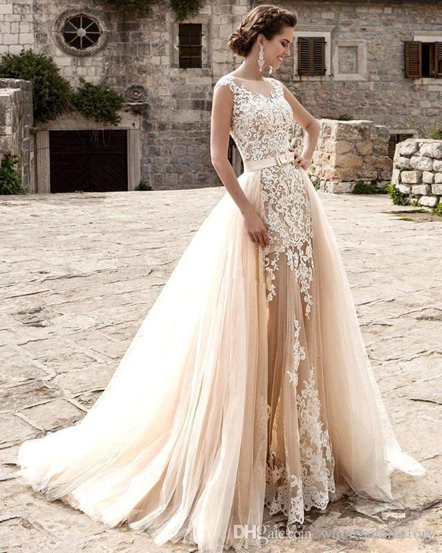 Champagne Lace A Line Vestidos de novia 2019 Sheer Tul Aplique Sobre Faldas Arco Sash Vestidos De Novia De Boda robe de mariée BA5359