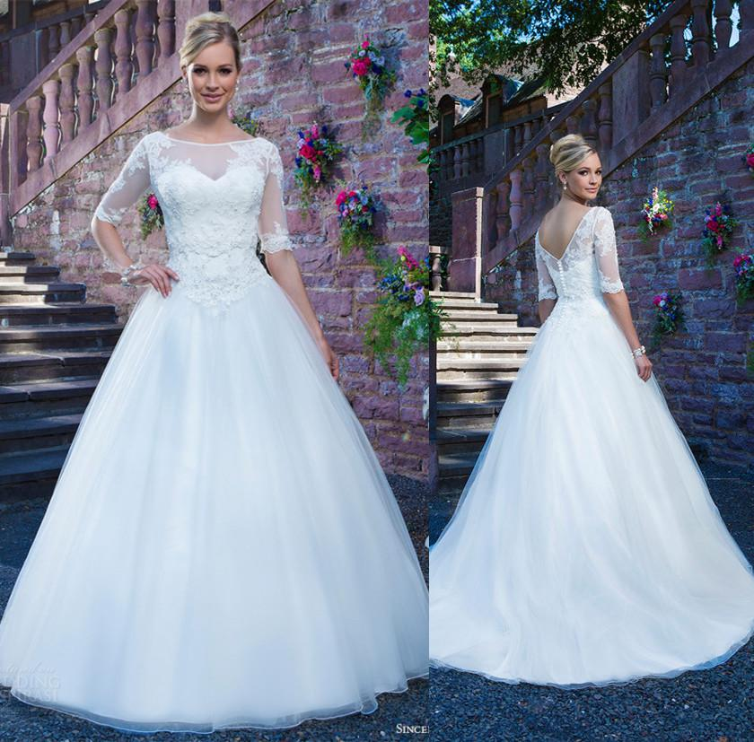Романтический аппликация кружева свадебные платья совок шеи линия Половина рукава современные свадебные платья Vestidos де novia на заказ