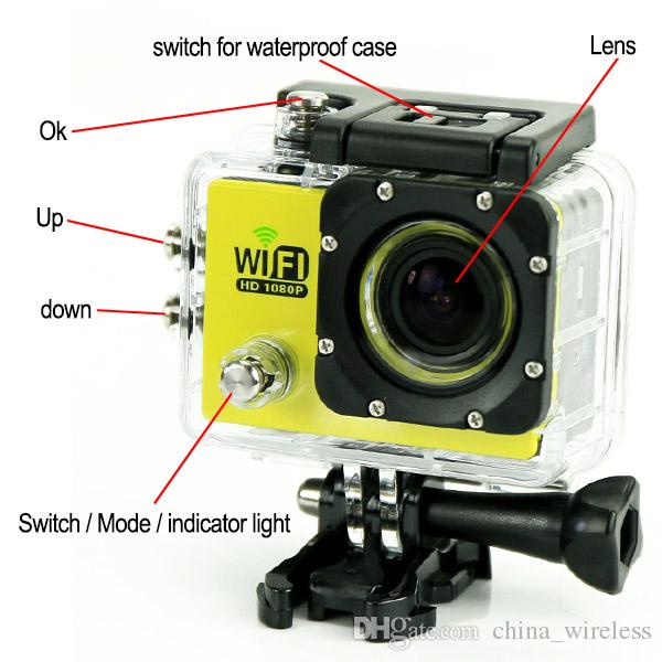 SJ6000 WIFI Sport Action Video Camera FHD 1080P 12MP 2inch Mini Camcorder Car Recorder 30M Waterproof Hot Sell DHL EMS