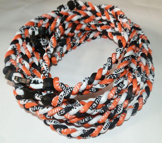 3 braided rope titanium necklace tornado baseball sports unisex fashion jewelry 48-55CM mixed colors