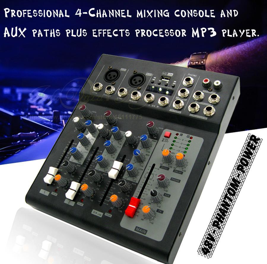 تأثير المهنية 2 قناة مونو 4 قنوات كاريوكي ميكروفون خلاط دي جي خلاط الصوت وحدة المعالجة المركزية USB الموسيقى الرقمية المؤثرات الصوتية