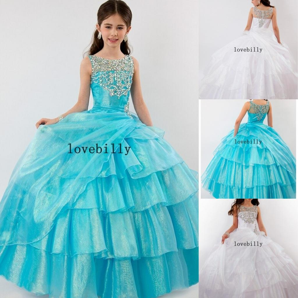 Ra567 Royal Adorable Beautiful Silver Crystal Blue White Organza ...