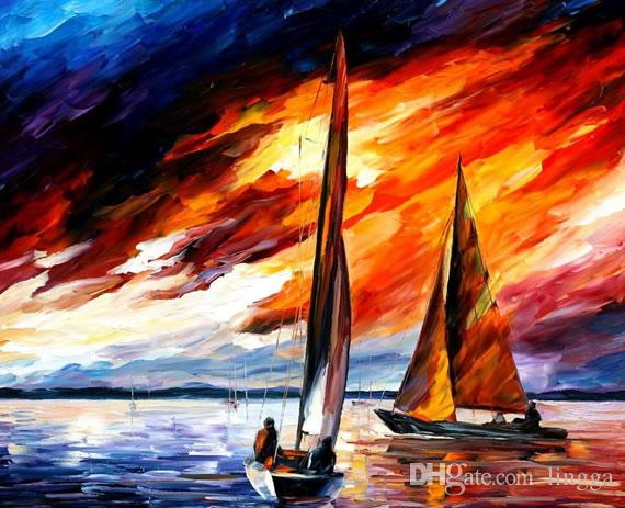 Wholesales 100% Hand-Painted thick textured palette knife ocean sailing boat oil painting on the canvas XY-94