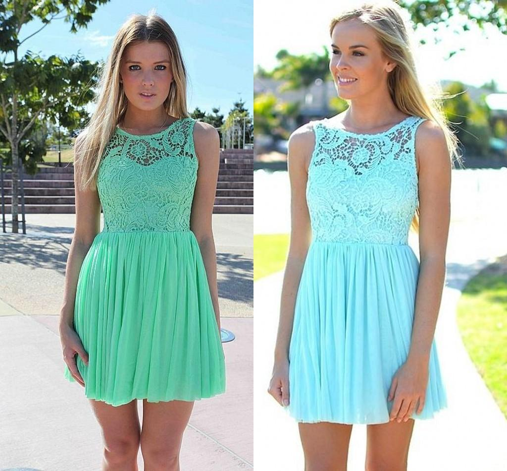 Mint Green Chiffon Lace Short Party Dresses 2015 Hot Selling Sheer ...
