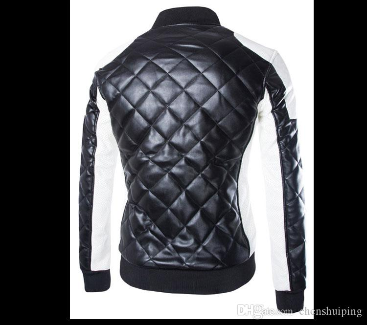 hot sale New Fashion Mens Outerwear & coat Jackets Stand collar Zippered PU JACKET Men's Clothing