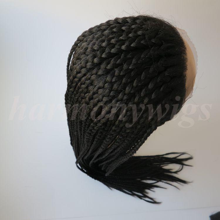 Moda intrecciatura parrucca anteriore in pizzo sintetico dritto nero 30inch resistente al calore capelli scatola grande donna parrucca trecce