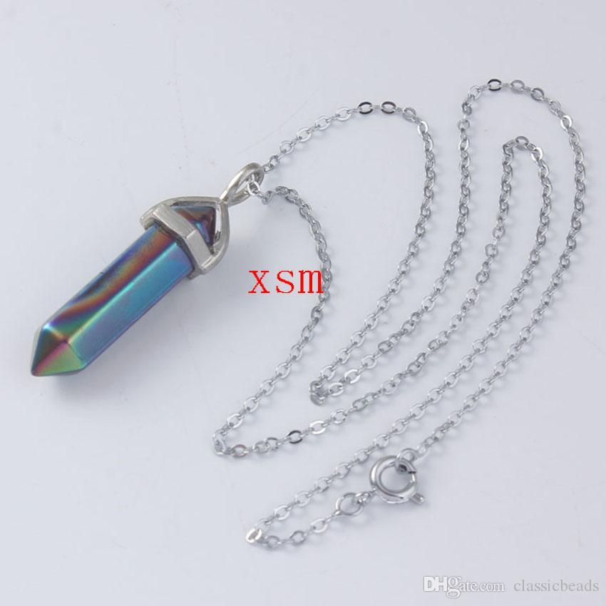 Natürliche natürliche farbenreiche Kristallhexagon-Prisma-Reiki Chakra-hängende Halsketten für Frauen und Männer geben Shiping frei
