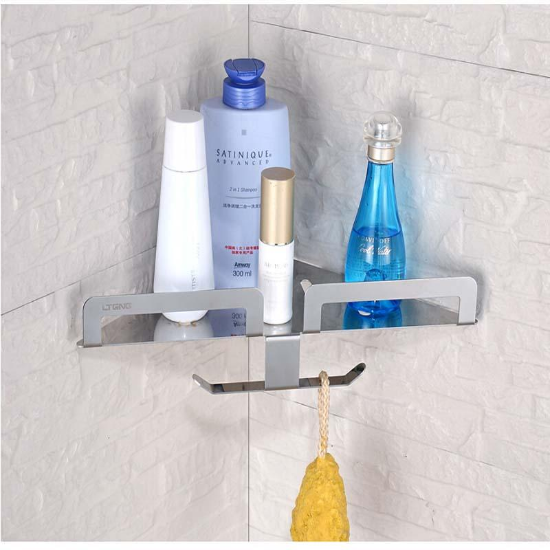 2018 Wholesale And Retail Bathroom Shelf Corner Storage Holder W/ Bath  Accessories Hooks Hangers Stainless Steel From Gonglangno1, $45.23 |  Dhgate.Com