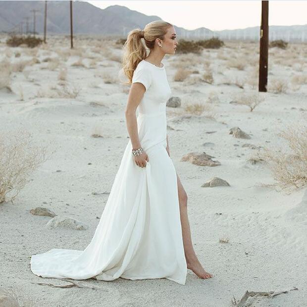 2017 Sheath Wedding Dresses For Greek Goddess Simple: 2016 Simple Sheath Beach Wedding Dresses With Short