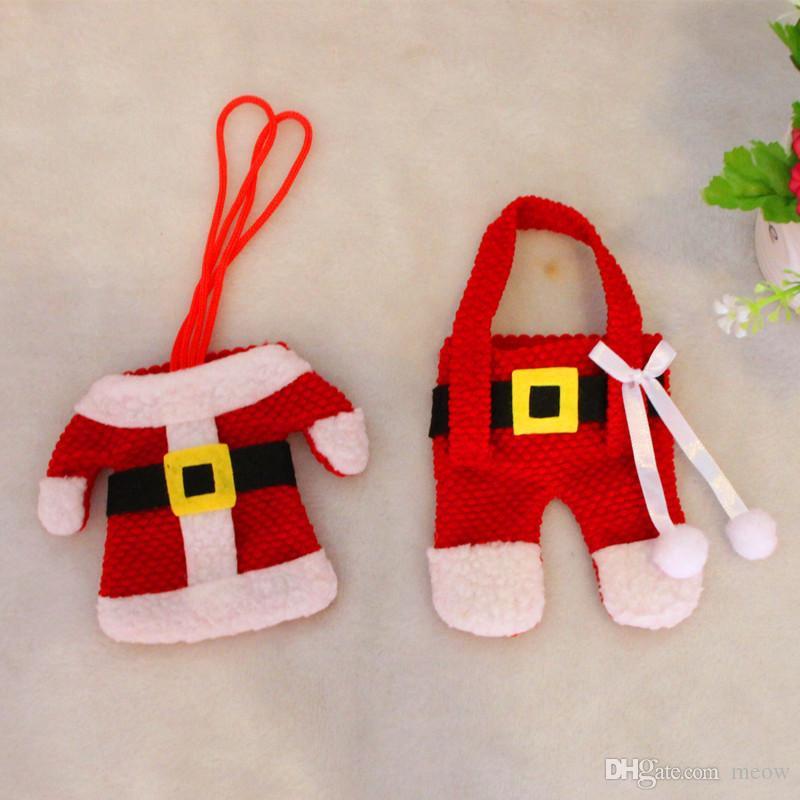 Decorazioni la tavola di Natale Set di posate Mini vestiti Pantaloni Vestito da tavola Forchetta Cucchiaio Borsa Xmas Party Home Layout Yellow Buckle