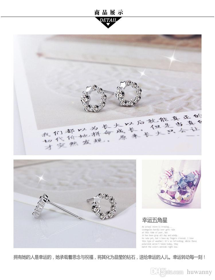 Silver Stud Earrings Hot Sale Crystal Flower Earring for Women Girl Party Gift Fashion Jewelry Wholesale Free Ship - 0156WH