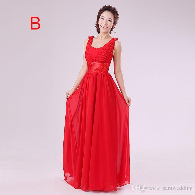 2018 дешевые моды без бретелек длинное-Line шифон платья невесты красные платья подружки невесты халат demoiselle d'honneur
