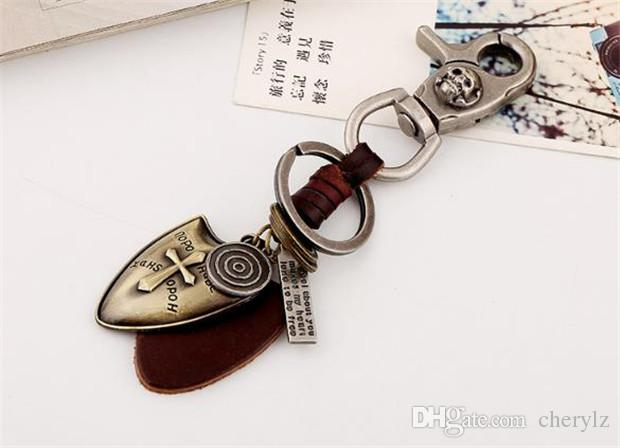 Cowboys Style Mens Leather Keychains Fashion Zinc Alloy Cross Pendant Key Rings Rock Skull Charms Key Chains Best Gifts Y121