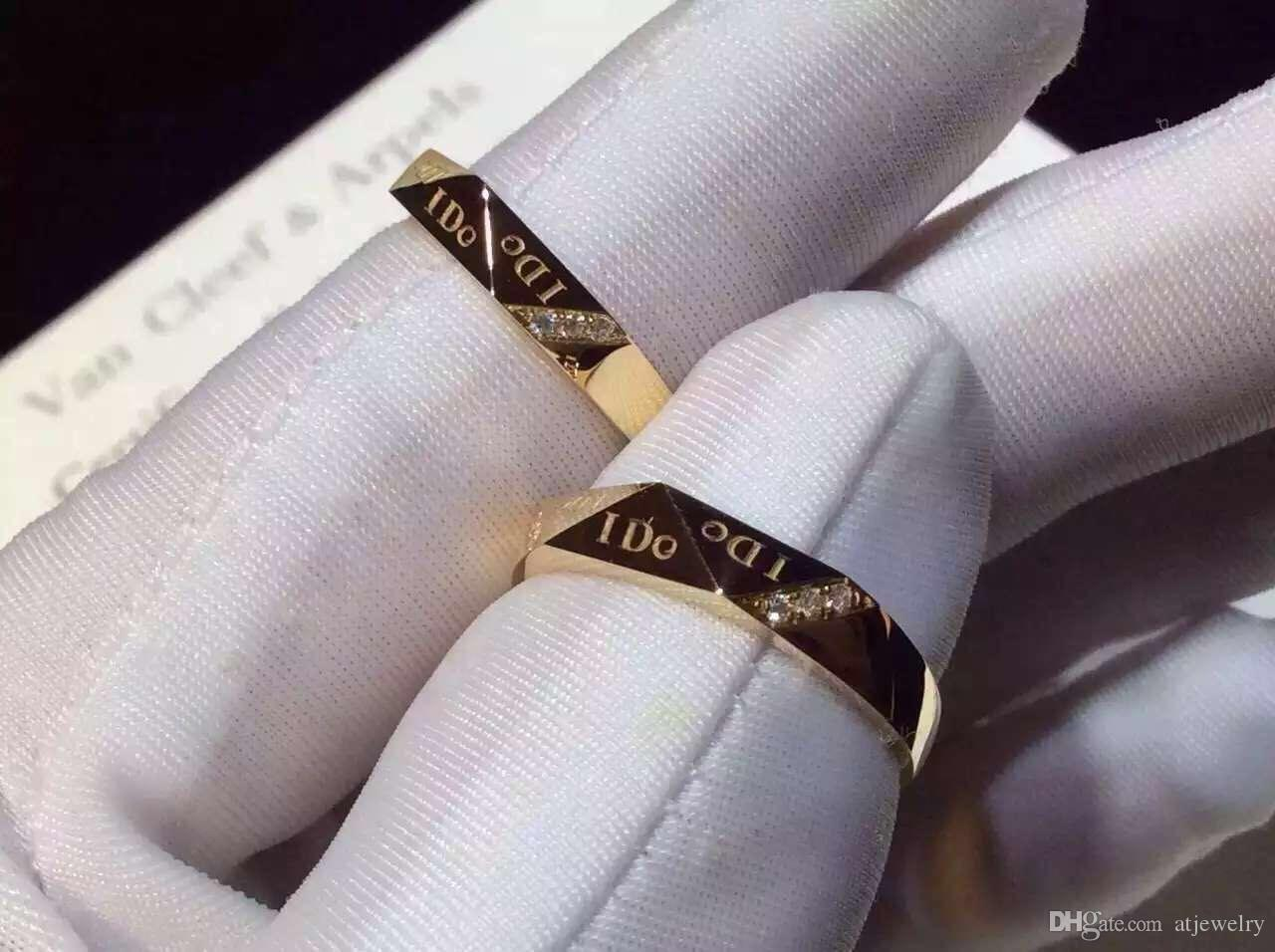 18K Rose gold Real gold couple rings Natural diamond engagement rings for women and man custom ring wholesale with certificate