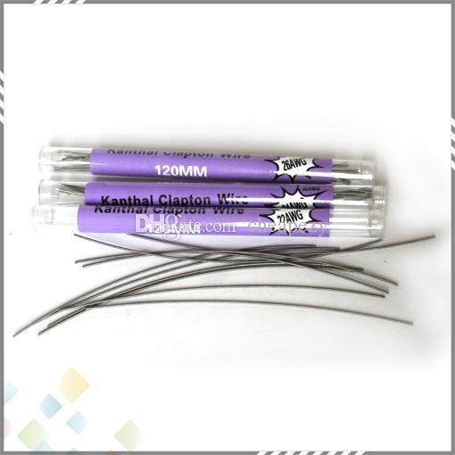 10 piezas en un tubo Clapton Wire 120MM 22 * 32g 24 * 32g 26 * 32g 28 * 32g 32 * 32g Cable de resistencia Clapton Wire Electronic Cigarette DHL Free