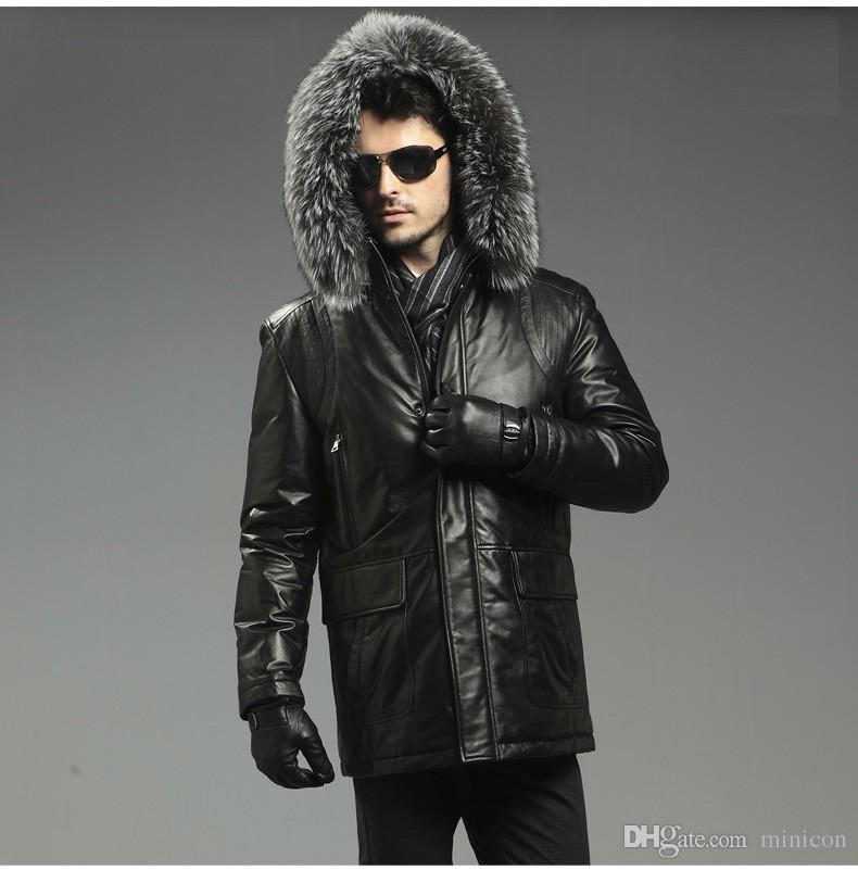 Best 2015 New Arrival Men'S Genuine Sheepskin Leather Goose Down ...