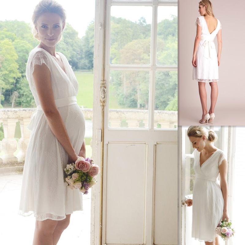 knee length cap sleeve white maternity wedding dresses