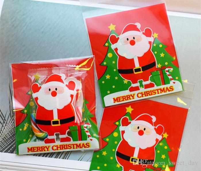 Weihnachtsbeutel glückliche Weihnachtsmann-selbstklebende Beutelgeschenksüßigkeitzusatz-kleine Beutel-Partei-Versorgungsbevorzugungen