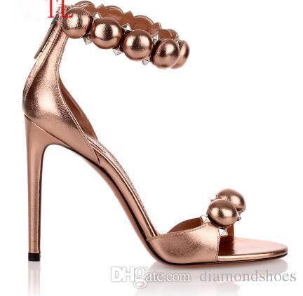 Nova moda de couro de ouro Mulheres de Verão de Salto Alto Sandálias Bola Embelezada Gladiador sandálias de salto alto