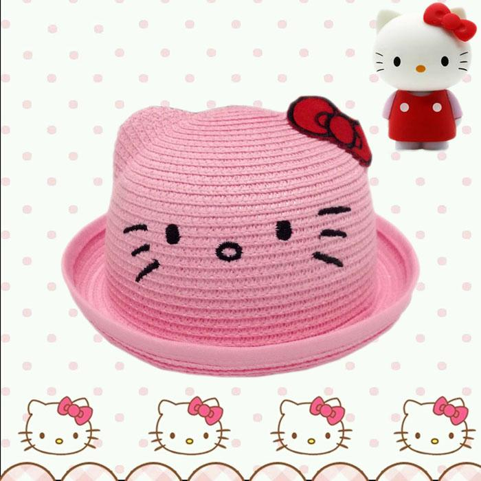 Hello Kitty Girls Straw Bucket Hat Kids Straw Hats Summer Style Pink ... 2e52cf00f43