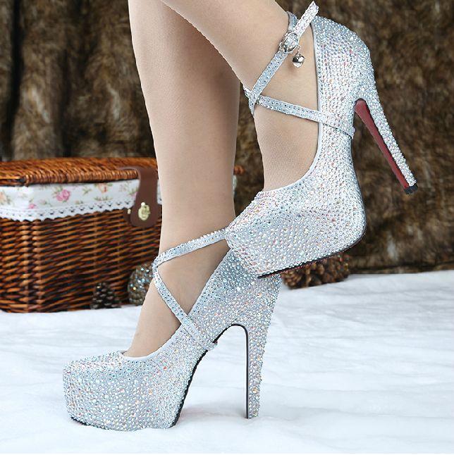 Silver High Heels for Graduation