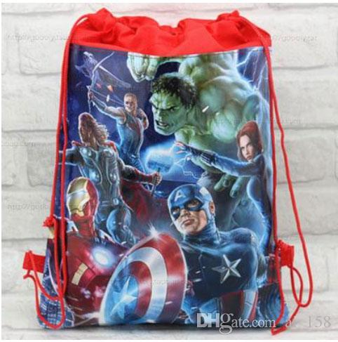 Free shipping 24pcs\lot Captain America shoe bag, shoe pouch, gift bag, drawstring bag schoolbag shoulderbag Wholesale