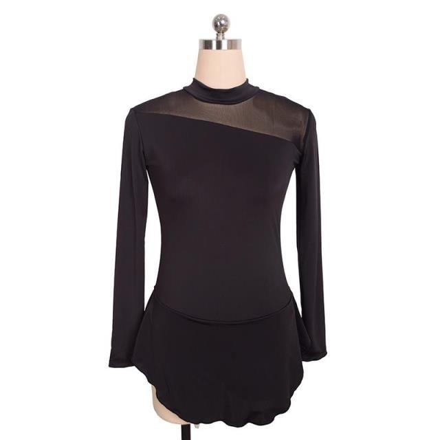 84f47ca50b8 Acheter Dernière Robe De Patinage Femme Noire Sur Glace Manches Longues Robe  De Concours De Conception Simple Filles Robe Dos Ouvert De  107.04 Du  Icegirls ...