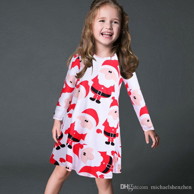 Chica INS Vestido de Navidad 2017 Nuevos Niños de Dibujos Animados Muñeco de nieve de Papá Noel alces vestidos de manga larga trajes a juego de la familia hija ropa B001